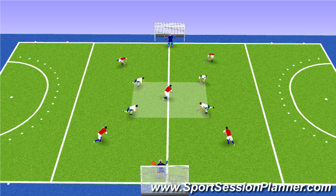 Hockey Session Plan Drill (Colour): Break out 4 v 5