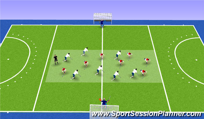 Hockey Session Plan Drill (Colour): Break either way