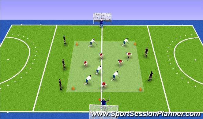 Hockey Session Plan Drill (Colour): 5 v 5 + 5