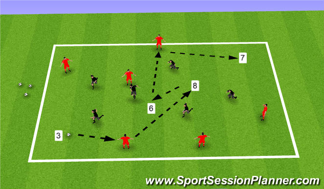 Football/Soccer Session Plan Drill (Colour): 6v6+4 on diags