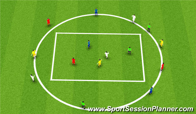 Football/Soccer Session Plan Drill (Colour): session 1 - recieve and play