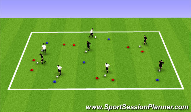 Football/Soccer Session Plan Drill (Colour): Warm up/T1