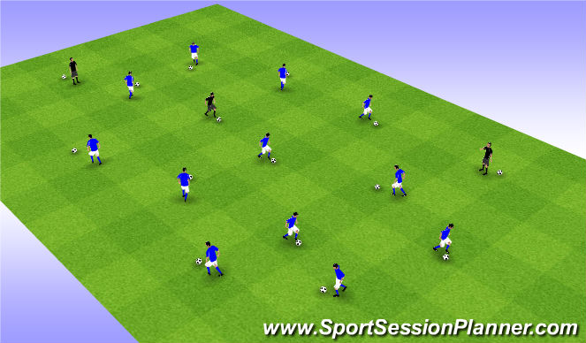 Football/Soccer Session Plan Drill (Colour): Free Dribbling