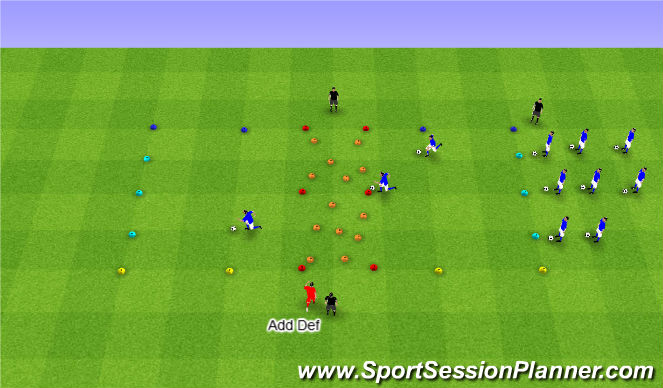 Football/Soccer Session Plan Drill (Colour): Across the River