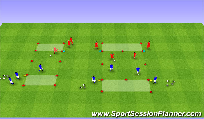 Football/Soccer Session Plan Drill (Colour): 1v1-2v2 Full Demands