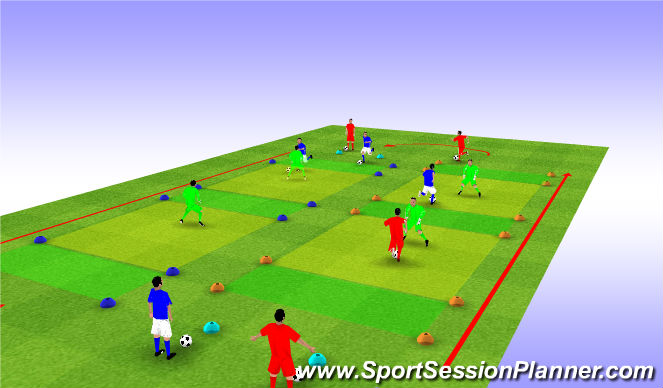 Football/Soccer Session Plan Drill (Colour): Gauntlet Circuit