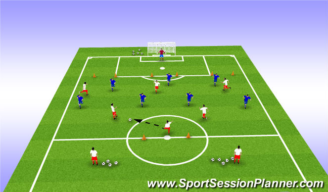 Football/Soccer Session Plan Drill (Colour): 6v8