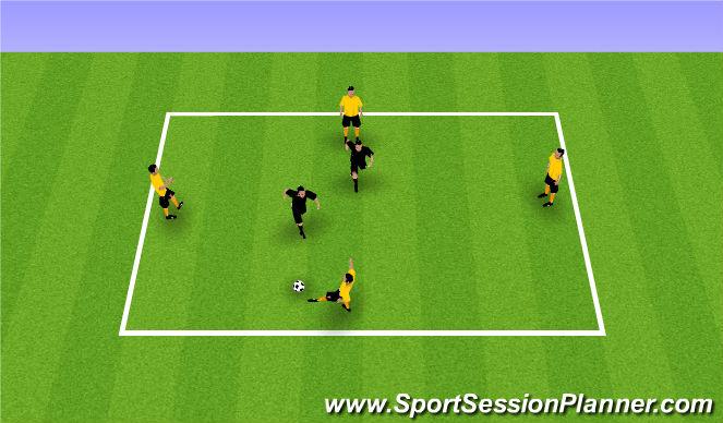 Football/Soccer Session Plan Drill (Colour): Rondo 4v2