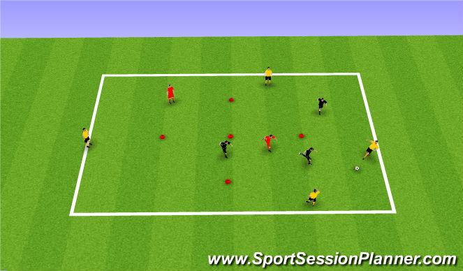 Football/Soccer Session Plan Drill (Colour): PP 4v3+2