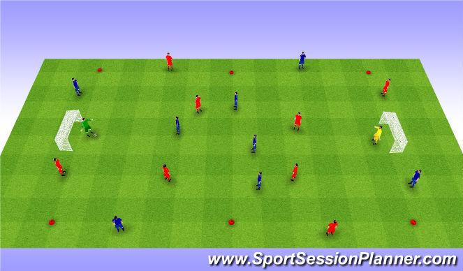 Football/Soccer Session Plan Drill (Colour): Possesion game 4v4+4. Gra na utrzymywanie się przy piłce z bokami.