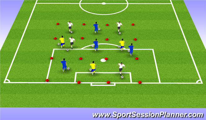 Football/Soccer Session Plan Drill (Colour): Minesweeper