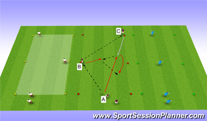 Football/Soccer Session Plan Drill (Colour): LP2-Semi/Fully Opposed