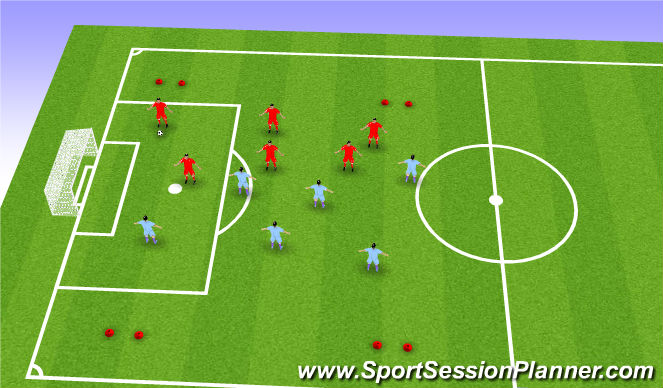 Football/Soccer Session Plan Drill (Colour): 4 Goal