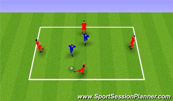 Football/Soccer Session Plan Drill (Colour): Build Up Individual Skill: Rondo 4v2