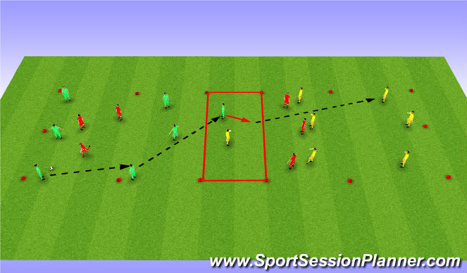 Football/Soccer Session Plan Drill (Colour): Transfer Game Through a No. 10