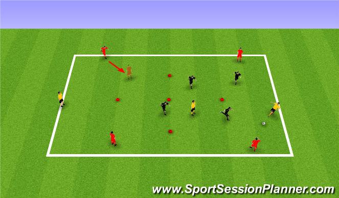 Football/Soccer Session Plan Drill (Colour): PP 4v4+3