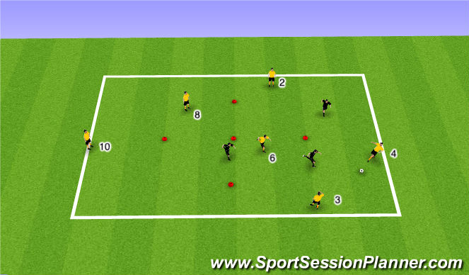 Football/Soccer Session Plan Drill (Colour): Warm-Up 6v4