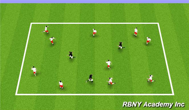 Football/Soccer Session Plan Drill (Colour): Banana Tag - Regression