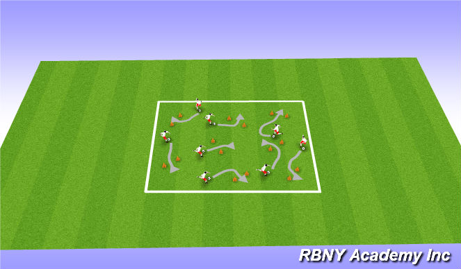 Football/Soccer Session Plan Drill (Colour): The Jellyfish