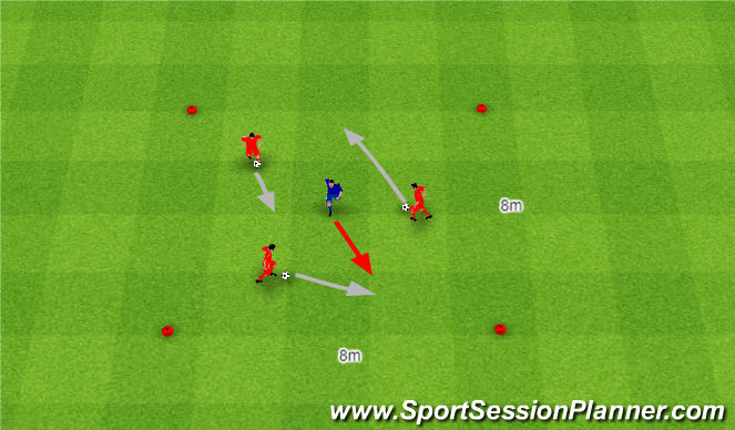 Football/Soccer Session Plan Drill (Colour): Pięć szans odbior piłki.