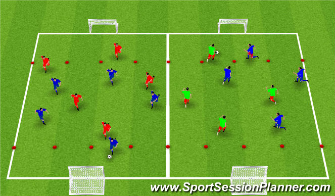 Football/Soccer Session Plan Drill (Colour): Arrival Activity (Whole)