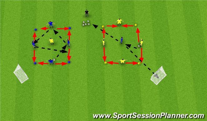 Football/Soccer Session Plan Drill (Colour): Team Rondos (4v1)