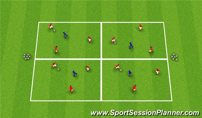 Football/Soccer Session Plan Drill (Colour): Rondo - 3v1