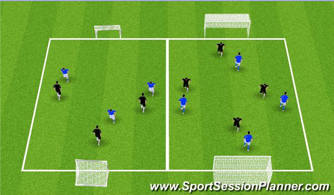 Football/Soccer Session Plan Drill (Colour): 3v3 or 4v4 Game