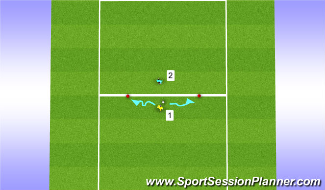 Football/Soccer Session Plan Drill (Colour): Beat opponent to cone