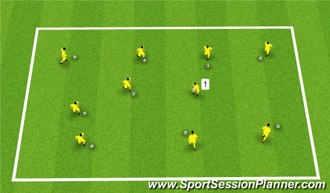 Football/Soccer Session Plan Drill (Colour): Bombs away