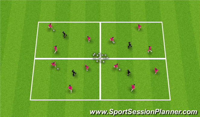 Football/Soccer Session Plan Drill (Colour): Rondo - 3v1