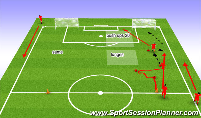 Football/Soccer Session Plan Drill (Colour): ball/fitness work