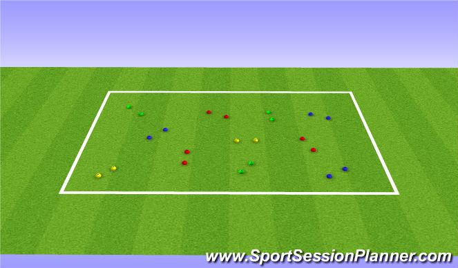 Football/Soccer Session Plan Drill (Colour): Dribbling Gates