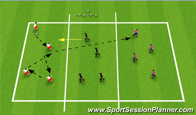 Football/Soccer Session Plan Drill (Colour): Initial game-penetrating passes