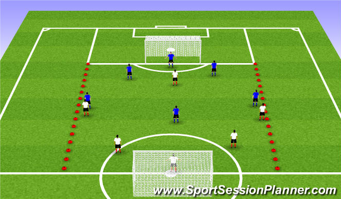 Football/Soccer Session Plan Drill (Colour): Game 6v6+1