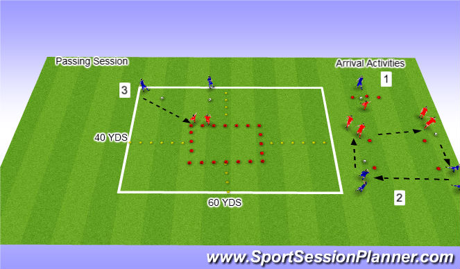 Football/Soccer Session Plan Drill (Colour): Passing Ranges in Pairs