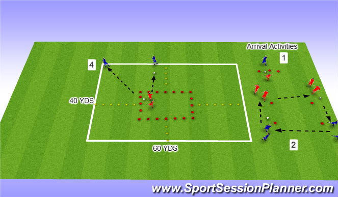Football/Soccer Session Plan Drill (Colour): Passing on the Move