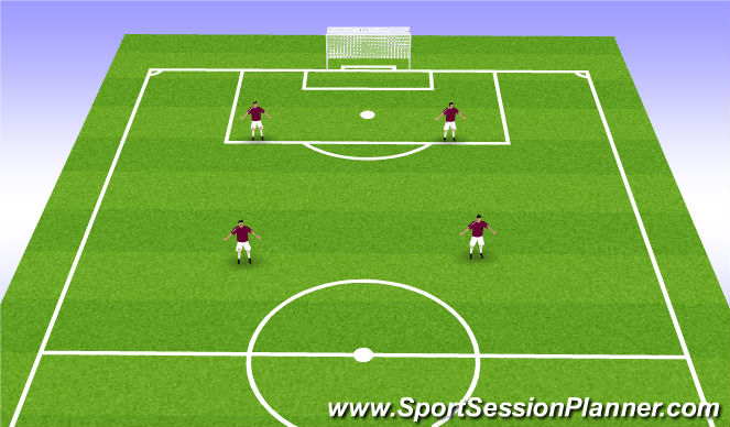Football/Soccer Session Plan Drill (Colour): 4v4 (2-2)