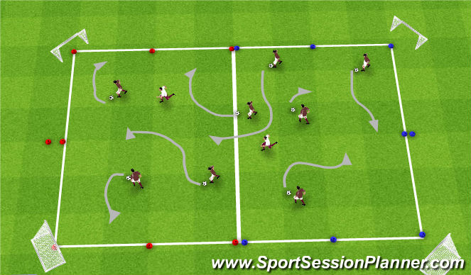 Football/Soccer Session Plan Drill (Colour): Warm-Up=Second Session
