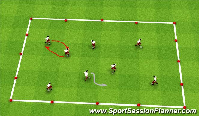 Football/Soccer Session Plan Drill (Colour): Dribbling-Red Light/Green Light