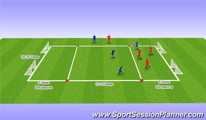 Football/Soccer Session Plan Drill (Colour): 3 gegen 3 Funinio-