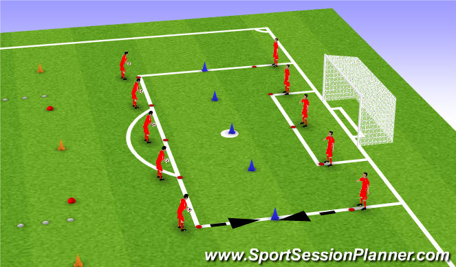 Football/Soccer Session Plan Drill (Colour): Skill game: heading to hit cone