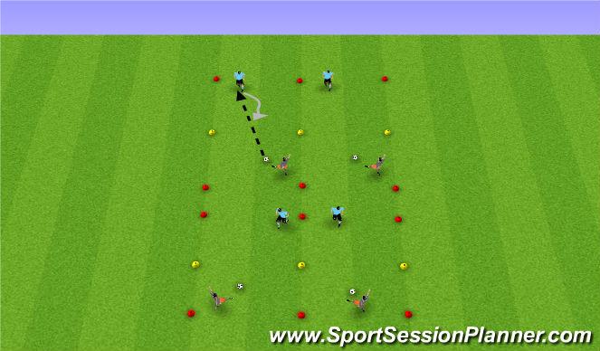 Football/Soccer Session Plan Drill (Colour): 1v1s and 2v2s