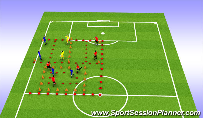 Football/Soccer Session Plan Drill (Colour): Press From Front