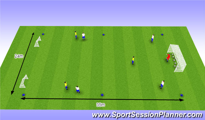 Football/Soccer Session Plan Drill (Colour): O10 - W37 (1) - Opbouwen