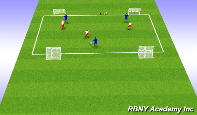 Football/Soccer Session Plan Drill (Colour): Multi Goal Game- Small Sided - 4 goals