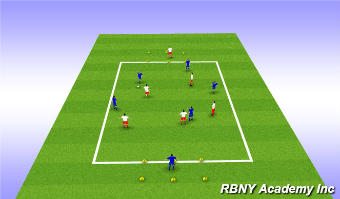 Football/Soccer Session Plan Drill (Colour): Target game - Small Zones