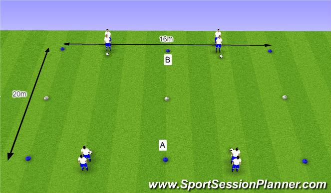 Football/Soccer Session Plan Drill (Colour): O10 - W38 (1) - H4 Halve draaien