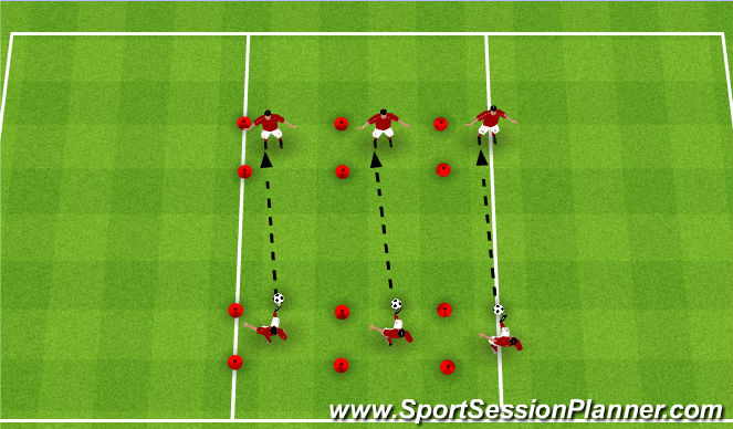 Football/Soccer Session Plan Drill (Colour): Passing Tree