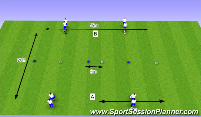 Football/Soccer Session Plan Drill (Colour): O10 - W38 (2) - H5 Schijn- en passeerbewegingen